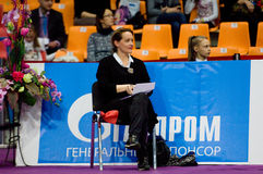 Arbiter on chair. MOSCOW, RUSSIA - FEBRUARY 20, 2016: Unidentified arbiter wait on Rhythmic gymnastics Alina Cup Grand Prix Moscow - 2016 on February 20, 2016 Stock Photo