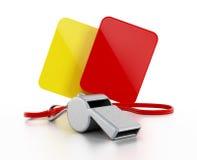 Arbitra gwizd, kolor żółty i czerwone kartki, Zdjęcie Royalty Free