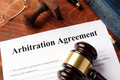Arbitration agreement form. Arbitration agreement form on an office table Royalty Free Stock Photos