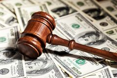 Arbitration. Attorney cash court decide decision dollar Royalty Free Stock Photo