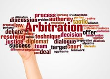 Arbitration word cloud and hand with marker concept. Arbitration, word cloud and hand with marker concept on white background vector illustration