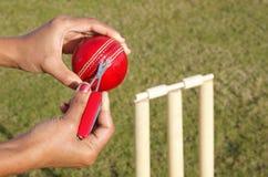 Arbitre coupant l'amorçage déchiré d'une bille de cricket Image libre de droits
