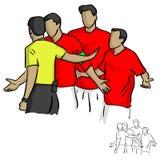 Arbitre en jugadores de fútbol amonestadores de la camisa amarilla en el vecto del juego Imagen de archivo libre de regalías