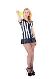 Arbitre sexy du football avec la carte jaune Images stock