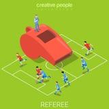 Arbitrez le vecteur isométrique plat 3d du football du football de sifflement Photographie stock
