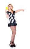 Arbitro attraente che mostra scheda gialla Fotografia Stock Libera da Diritti