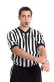 Arbitro che dà segno ripugnante difensivo fotografie stock