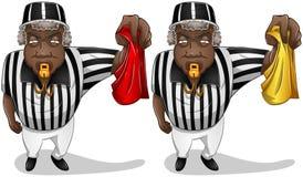 Arbitro di calcio con la bandiera ed il fischio Immagine Stock Libera da Diritti