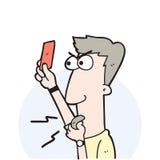 Arbitro di calcio del fumetto che mostra un cartellino rosso Immagine Stock