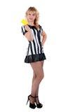 Arbitro sexy di calcio con la scheda gialla Fotografie Stock