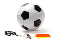 Arbitro Whistle Cards e palla Fotografia Stock