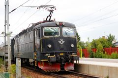 Electric locomotive. Arboga, Sweden - July 9, 2018: A black electric locomotive class Rc6 number 1365 operated by SJ at the Arboga railroad station stock photography