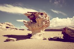 Arbol de Piedra στην έρημο Siloli, sud reserva Lipez, Βολιβία Στοκ εικόνα με δικαίωμα ελεύθερης χρήσης