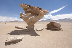 Arbol de Piedra, Bolivia. El Arbol de Piedra, a stone rock formation by erosion in the Bolivian desert Stock Images