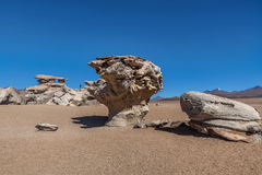 Arbol de Piedra or Stone tree, Altiplano, Bolivia.  Royalty Free Stock Photo