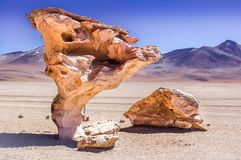 Arbol de Piedra. Weathered piece of stone in the Salt Flats, Bolivia Royalty Free Stock Photography