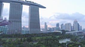 Arboleda estupenda del árbol de la visión aérea en jardines de la bahía y de Marina Bay Sands en Singapur tiro Vista superior del almacen de video