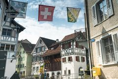 Arbon, SG / Switzerland - April 7, 2019: view of the historic old town in the Swiss city of Arbon