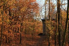 Arbor above Zbraslav in forest. Path to Arbor above Zbraslav in forest during sunset in Prague, Czech Republic Royalty Free Stock Photos