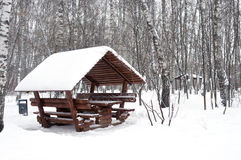 Arbor covered with snow horizontal Stock Photo