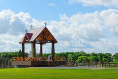 Arbor and cross. Set of crucifixions and crosses with a religious arbor behind them Royalty Free Stock Photography