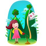Arbor Day. An illustration for Arbor Day, which girl plants a tree on that day vector illustration