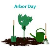 Arbor Day. 29 April. Tree. Garden tools. Shovel, rake, watering can. Vector illustration. Arbor Day. 29 April. Tree. Garden tools. Shovel rake watering can vector illustration