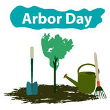 Arbor Day. 29 April. Tree. Garden tools. Shovel, rake, watering can. Vector illustration Stock Photography