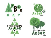 Arbor day10. Arbor Day. Ecology concept design. Green Eco Earth. Vector illustration for greeting card, poster, banner, eco design royalty free illustration