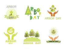Arbor day16. Arbor Day. Ecology concept design. Green Eco Earth. Vector illustration for greeting card, poster, banner, eco design royalty free illustration