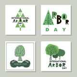 Arbor day13. Arbor Day. Ecology concept design. Green Eco Earth. Vector illustration for greeting card, poster, banner, eco design royalty free illustration
