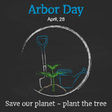 Arbor Day background with shovel, watering can and sprout on blackboard in cartoon style. Vector illustration for you Stock Photo