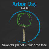 Arbor Day background with tree on blackboard in cartoon style. Vector illustration for you design, card, banner, poster Royalty Free Stock Image
