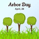 Arbor Day background with trees in cartoon style. Vector illustration for you design, card, banner, poster, calendar or Royalty Free Stock Image