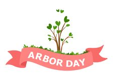 Arbor Day cartoon vector Illustration. Green seedling and pink ribbon with the inscription. Vector illustration on white backgroundn vector illustration