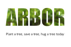 Arbor Day Concept. Arbor Day concept with blurred background of tree in letters outline with title and text Stock Photography