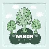 Arbor day8. Arbor Day. Ecology concept design. Green Eco Earth. Vector illustration for greeting card, poster, banner, eco design royalty free illustration