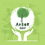 Arbor day7. Arbor Day. Ecology concept design. Green Eco Earth. Vector illustration for greeting card, poster, banner, eco design royalty free illustration