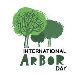 Arbor day2. Arbor Day. Ecology concept design. Green Eco Earth. Vector illustration for greeting card, poster, banner, eco design stock illustration