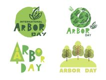 Arbor day11. Arbor Day. Ecology concept design. Green Eco Earth. Vector illustration for greeting card, poster, banner, eco design royalty free illustration