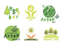 Arbor day12. Arbor Day. Ecology concept design. Green Eco Earth. Vector illustration for greeting card, poster, banner, eco design stock illustration