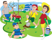 Arbor Day Family. A family planting trees near their home on Arbor Day royalty free illustration