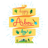 Arbor Day Greeting. Save Our Planet Concept With shovel, bucket and hand. Arbor Day Greeting for sticker, banner and flyer. Vector stock illustration