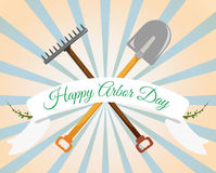 Arbor Day Greeting. Shovel, rake on a gentle background. Vector. Arbor Day Greeting. Shovel, rake on a gentle background Royalty Free Stock Photography