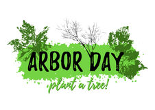 Arbor day grunge banner. Abstract grunge banner from paint splash with prints of leaves in green colors isolated on white. Plant tree in Arbor day. Vector stock illustration