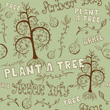 Arbor Day Hand Drawn Seamless Floral Pattern. Floral hand drawn seamless pattern for Arbor Day celebrating with Plant a Tree slogan and other letterings. EPS8 Royalty Free Stock Photos