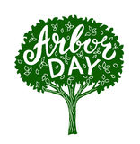 Arbor day. Hand drawn tree with lettering stock illustration