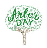 Arbor day. Hand drawn tree with lettering vector illustration