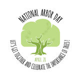 Arbor Day icon. Oak tree. Vector illustration. Stock Image