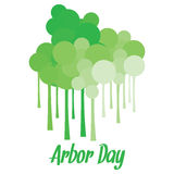 Arbor Day. Long stemmed tree like structures with circles for Arbor day Stock Images